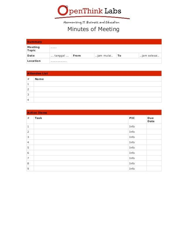 Software Development : Minutes Of Meeting Form - Template