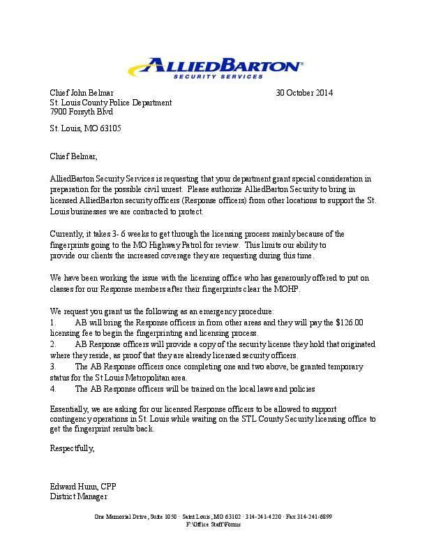 Letter from AlliedBarton Security Services | | stltoday.com