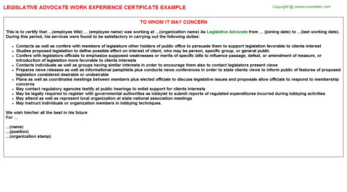 Domestic Violence Advocate Work Experience Letters