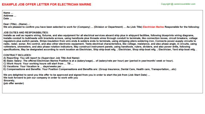 Electrician Marine Offer Letter