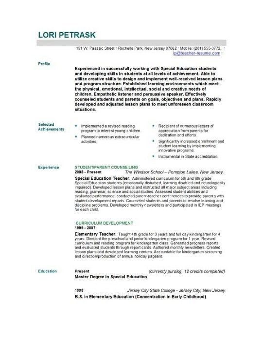 special education teacher resume samples. pleasant design ideas ...