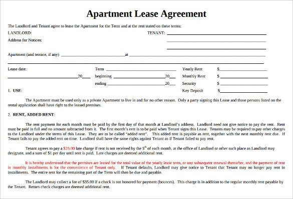 Sample Apartment Lease Agreement - 6+ Documents In Word, PDF