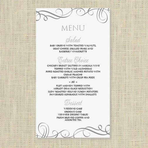 Wedding Menu Card Template - DOWNLOAD INSTANTLY - Edit Yourself ...