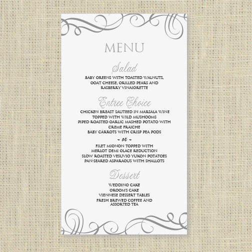 Wedding Dinner Menu Card Template