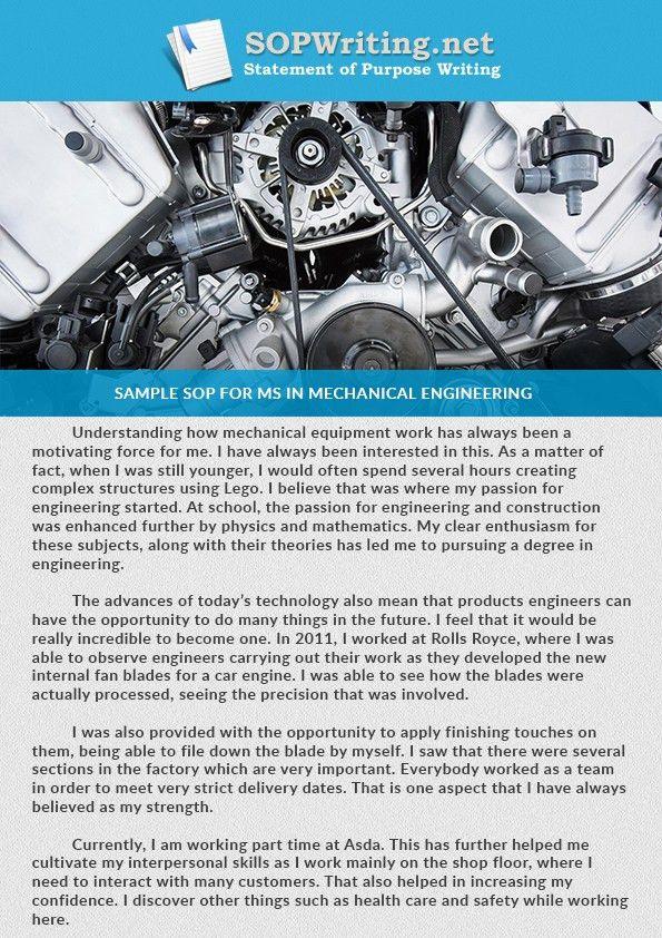 Get FREE Sample SOP for MS in Mechanical Engineering Here