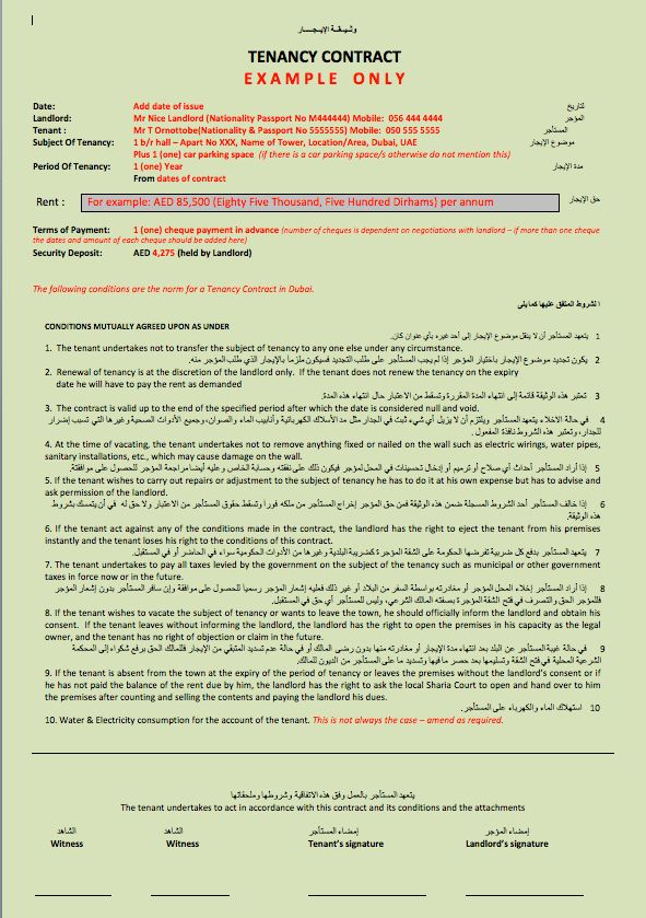 Example - Documents for process Tenancy Contract - Dubai Survival ...