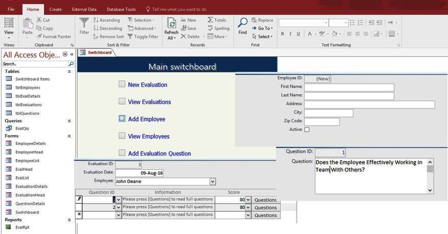 Access Employee Performance Evaluation Form Templates Database For ...