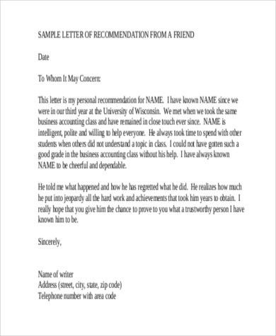6+ Sample Recommendation Letter for a Friend - 8+ Free Documents ...