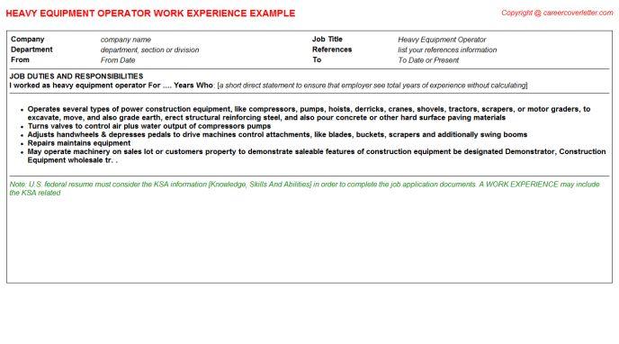 Heavy Equipment Operator Job Title Docs