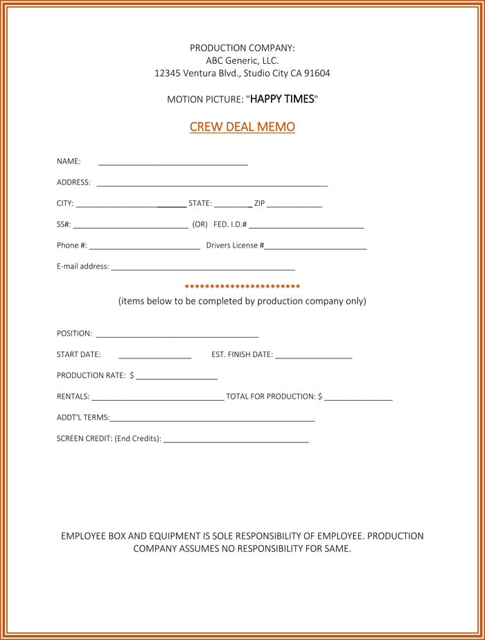 Deal Memo Template - 5 Samples to Write a Perfect Deal Memo