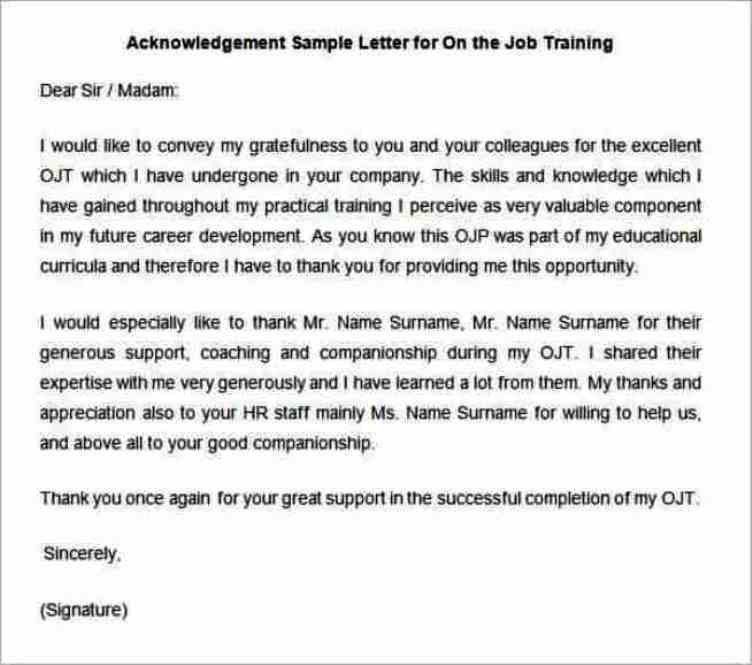 Free Acknowledgement Sample Letter for On the Job Training ...
