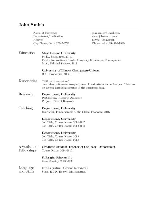 Academic CV and Cover Letter - Simple - LaTeX Template ...
