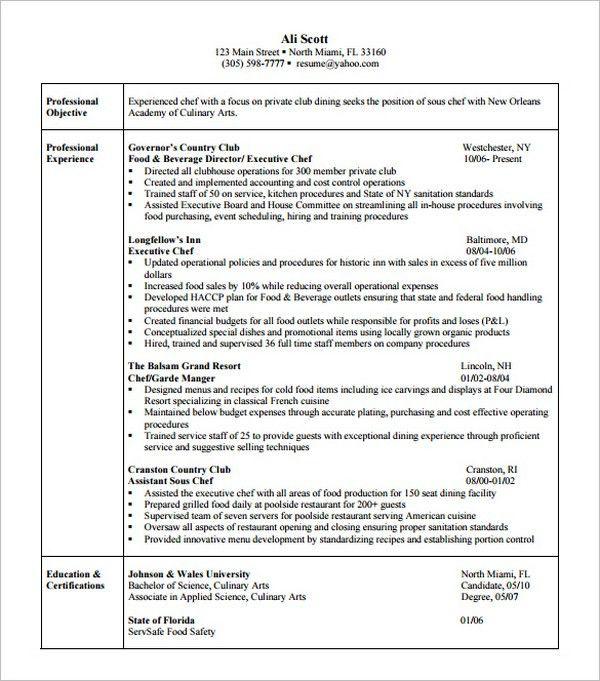 15+ Chef Resume Templates - Free PSD, PDF, Samples