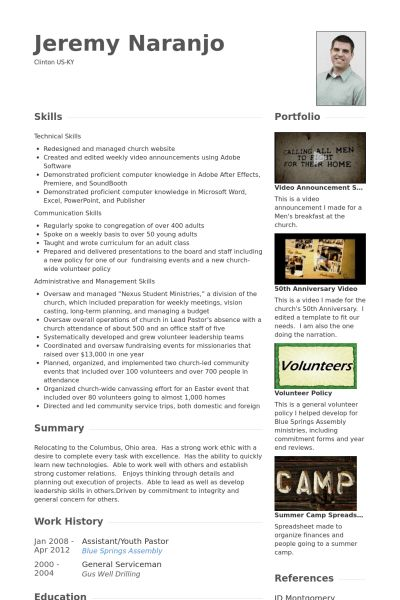 Youth Pastor Resume samples - VisualCV resume samples database