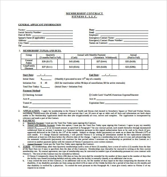 Gym Contract Template – 12+ Free Word, PDF Documents Download ...