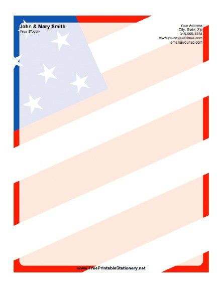 American Flag Background Stationery