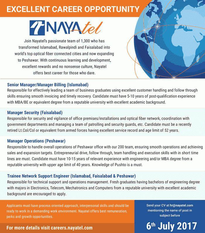 Nayatel Jobs June 2017 Trainee Network Support Engineers ...