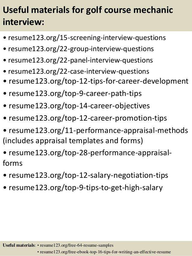 Top 8 golf course mechanic resume samples
