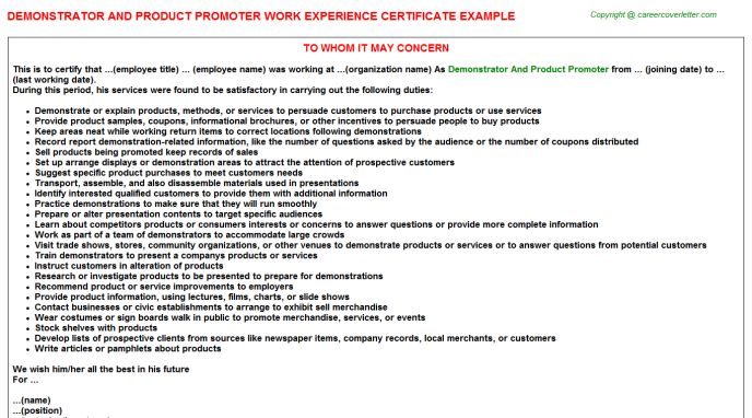 Demonstrator And Product Promoter Job Title Docs