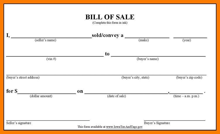 12+ bill of sale form for car | park-attendant