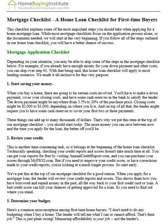 9 Free Sample Home Mortgage Checklists – Printable Samples
