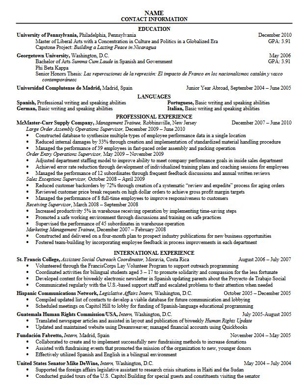Sample Resume For Graduate Student - Gallery Creawizard.com