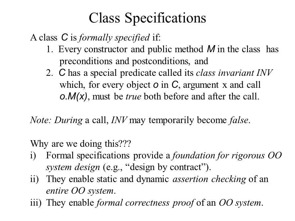 JML and Class Specifications Class invariant JML definitions Queue ...