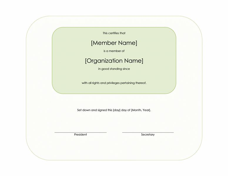 Membership certificate - Office Templates