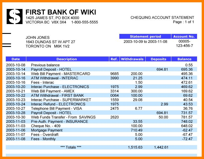 5+ bank statement template download free | Statement Information