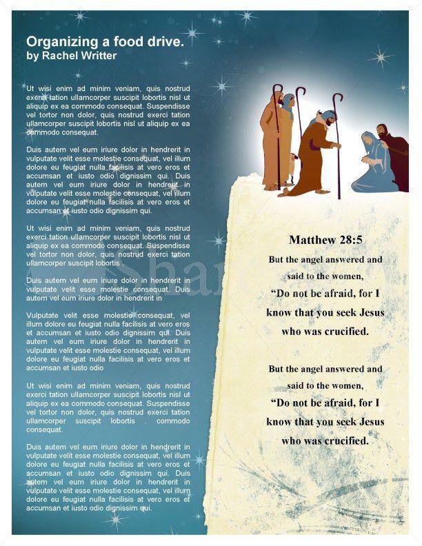 Nativity Church Newsletter Template Template | Newsletter Templates