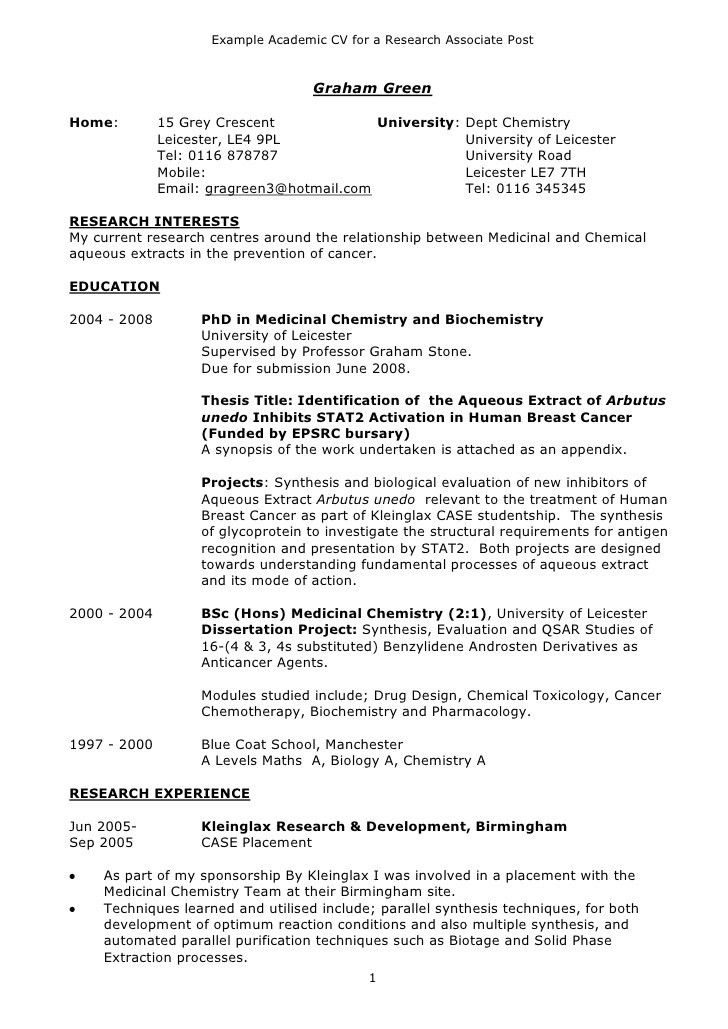 Cvs Resume Example