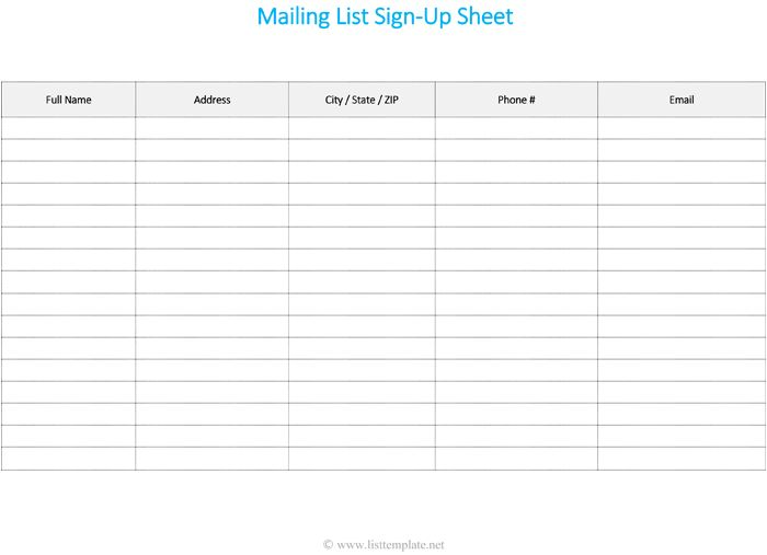 Mailing List Sign Up Sheet Template - List Templates