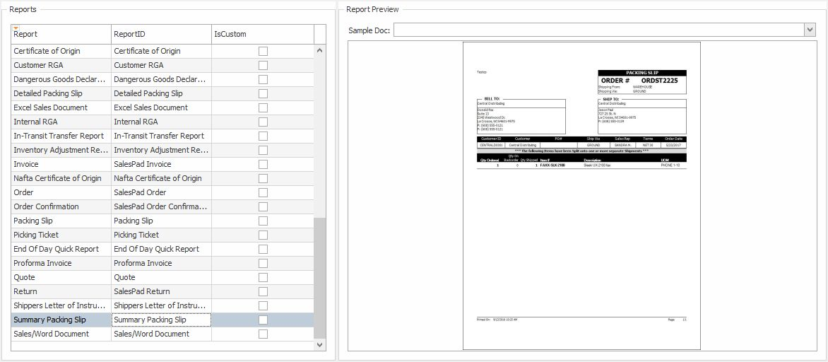 Summary Packing Slip - Support   SalesPad
