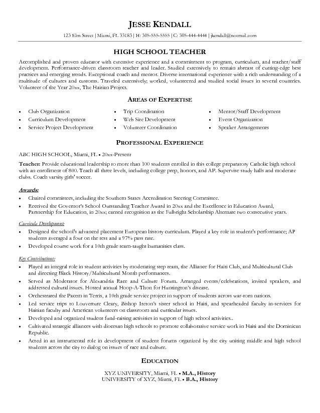 Example Resume Teacher. High School Teacher Resume #1308 - Http ...