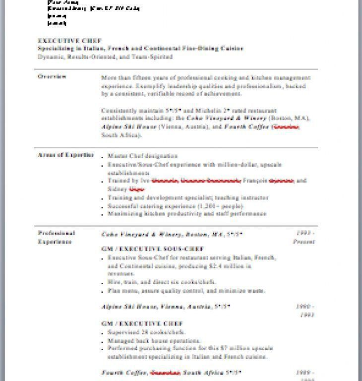Sample Chef Resume, cv personal statement examples chef mla cite ...