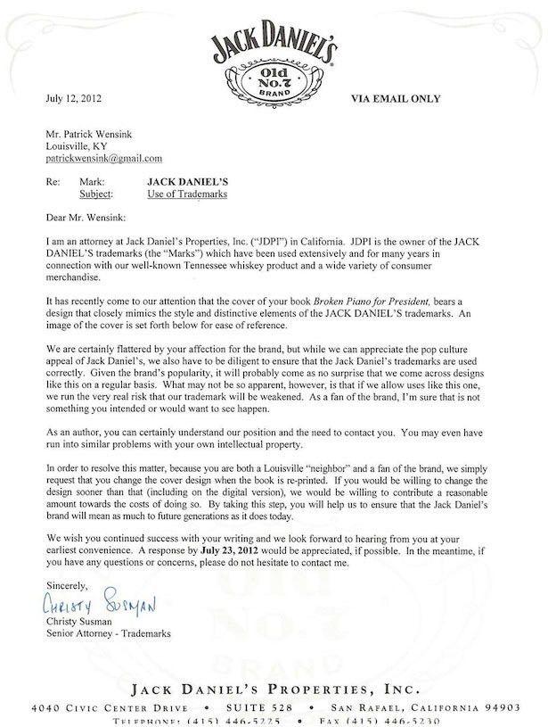 Jack Daniel's Cease and Desist - Nicest Legal Letter Ever