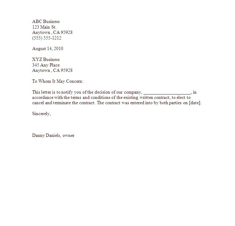 Editable And Easy To Use Business Contract Termination Letter ...