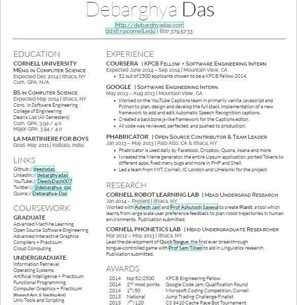 cornell sample resume resumes and cvs graduate school manager