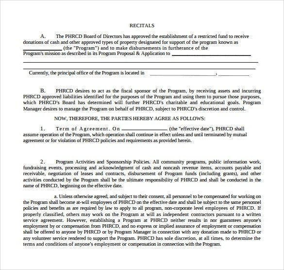 Sample Sponsorship Agreement - Template Examples