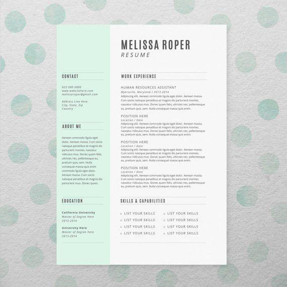CV Design + Cover Letter, INSTANT DOWNLOAD, Printable Resume ...