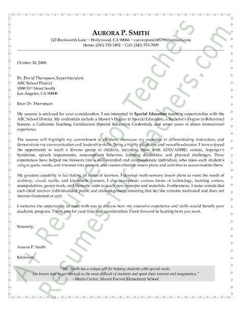 Special Education Teacher Cover Letter | school | Pinterest ...