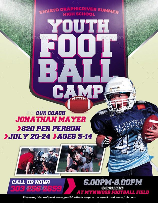 Youth Football Camp Flyer by inddesigner | GraphicRiver