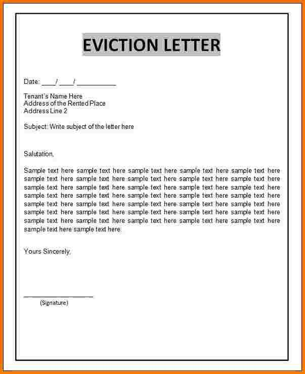 8 eviction letter template | Receipt Templates