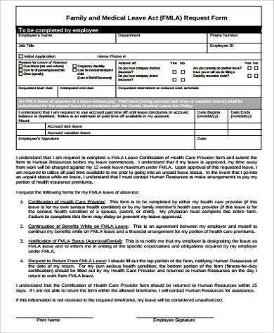 Family Medical Leave Act Form. Family Medical Leave Act Request ...