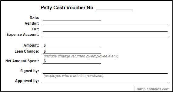 Petty Cash Voucher Example  Cash Voucher Templates Free Sample