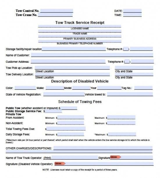 Free Tow Service Invoice Template | Excel | PDF | Word (.doc)