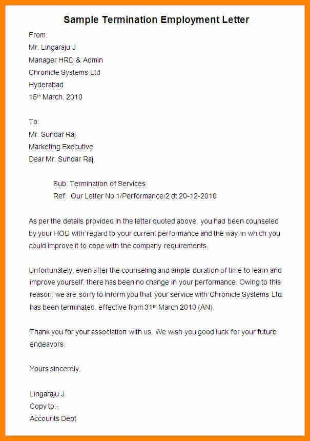 5+ termination of employment letter template | job resumed