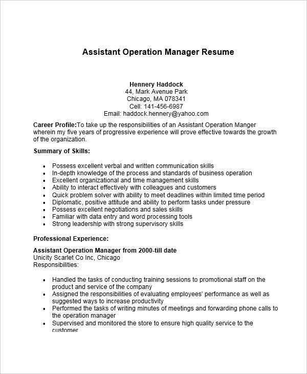 choose. sample assistant operation manager. operations manager ...