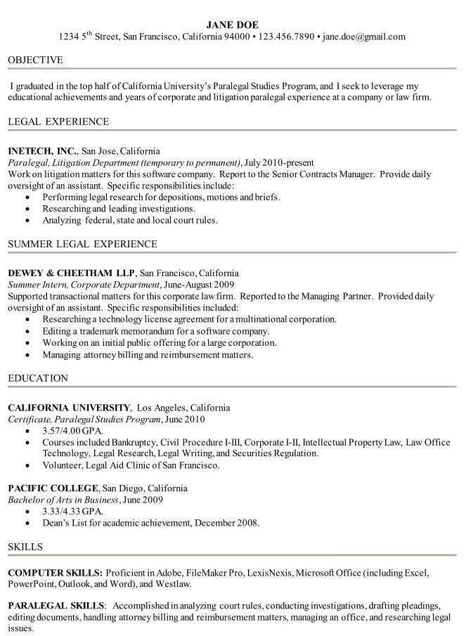 How to write a Paralegal Resume Including Samples - Paralegalism ...