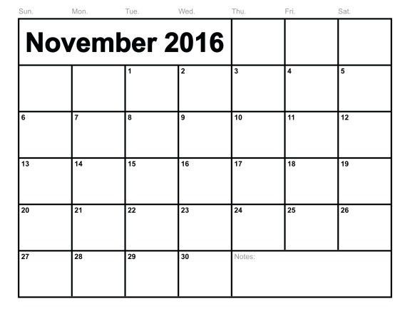 November 2016 Monthly Calendar Template